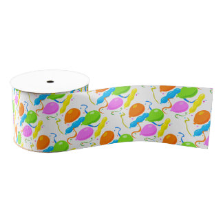Colorful Party Balloons Grosgrain Ribbon