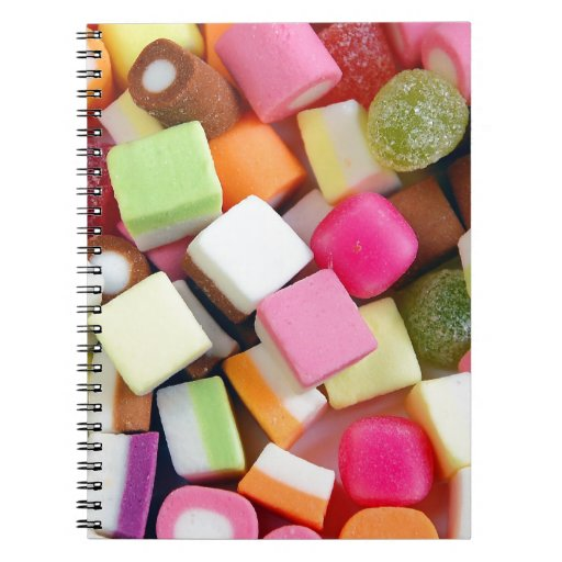 Colorful party candy mix print notebook