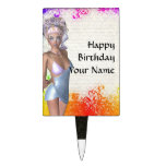 Colorful party girl cake toppers