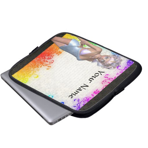 Colorful party girl computer sleeve