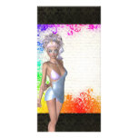 Colorful party girl customized photo card