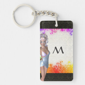 Colorful party girl Double-Sided rectangular acrylic keychain
