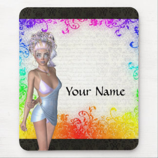 Colorful party girl mouse pad