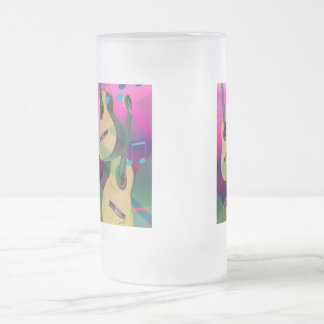 Colorful Party Guitars Frosted Glass Beer Mug