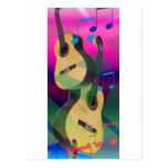 Colorful Party Guitars Postcard