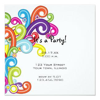 """Colorful Party Invitation 5.25"""" Square Invitation Card"""