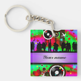 Colorful party people dancing keychain