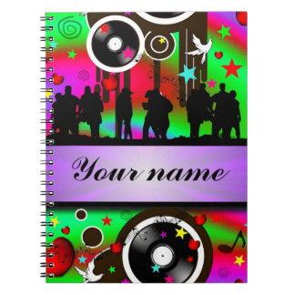 Colorful party people dancing spiral notebook