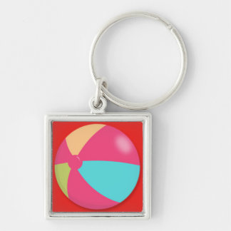 Colorful Pastel Beach Ball Silver-Colored Square Keychain