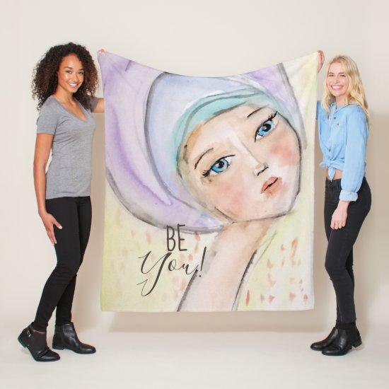 Colorful Pastel Cute Girl Whimsical Watercolor Art Fleece Blanket