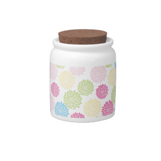 Colorful Pastel dahlia flowers pattern Candy Dish