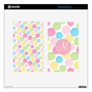 Colorful Pastel dahlia flowers pattern Decals For Kindle Fire