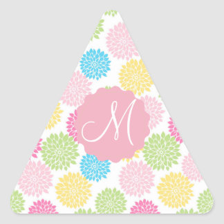Colorful Pastel dahlia flowers pattern Triangle Sticker