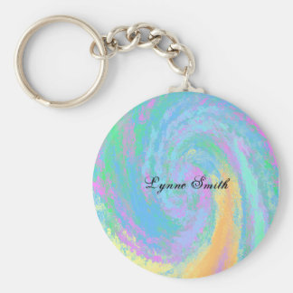Colorful Pastel Design- Personalize Basic Round Button Keychain