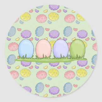 colorful pastel easter eggs classic round sticker