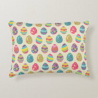 Colorful Pastel Easter Eggs Cute Pattern Accent Pillow