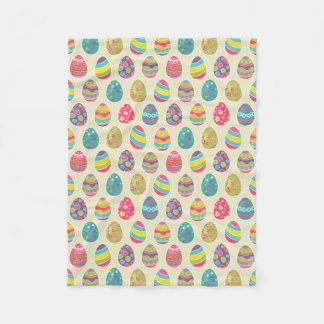 Colorful Pastel Easter Eggs Cute Pattern Fleece Blanket