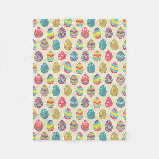 Colorful Pastel Easter Eggs Cute Pattern Fleece Blanket