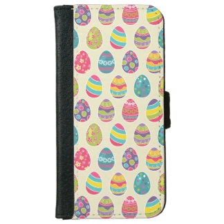 Colorful Pastel Easter Eggs Cute Pattern iPhone 6/6s Wallet Case
