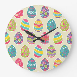 Colorful Pastel Easter Eggs Cute Pattern Large Clock