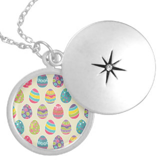 Colorful Pastel Easter Eggs Cute Pattern Round Locket Necklace