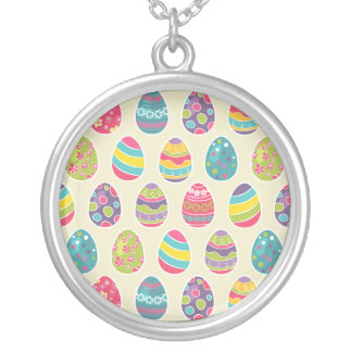 Colorful Pastel Easter Eggs Cute Pattern Round Pendant Necklace