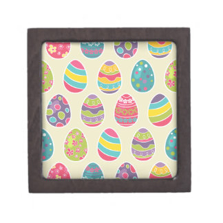 Colorful Pastel Easter Eggs Cute Pattern Premium Trinket Boxes