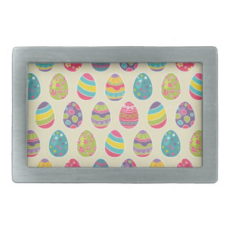 Colorful Pastel Easter Eggs Cute Pattern Rectangular Belt Buckle