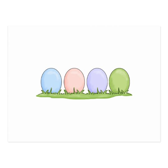 colorful pastel easter eggs postcard