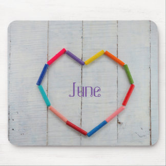 Colorful Pastel Heart with Custom Name Mouse Pad