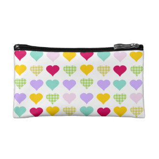 Colorful pastel hearts pattern makeup bags