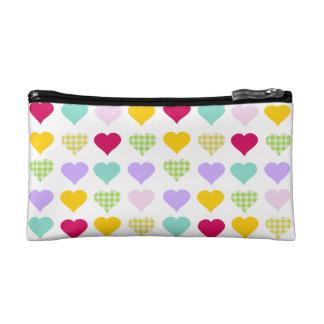 Colorful pastel hearts pattern makeup bag