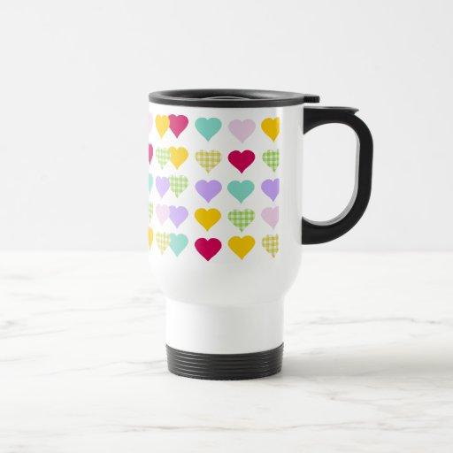 Colorful pastel hearts pattern mug