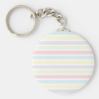 Colorful Pastel Lines Basic Round Button Keychain