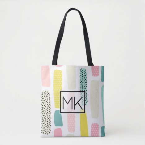 Colorful Pastel Paintbrush Monogram Tote Bag