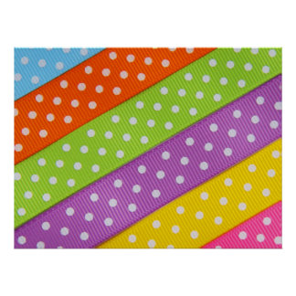 Colorful Pastel Polka Dot Ribbon Poster
