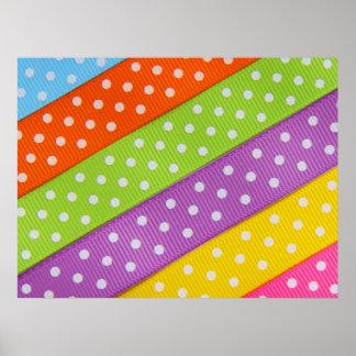 Colorful Pastel Polka Dot Ribbon Poster