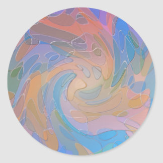 Colorful Pastel Simulated Glass Abstract Art Classic Round Sticker