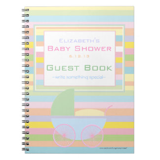 Colorful Pastel Stripes Baby Shower Guest Book- Spiral Notebooks