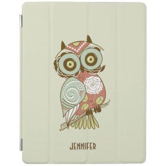 Colorful Pastel Tones Retro Floral Owl iPad Cover