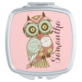 Colorful Pastel Tones Retro Floral Owl Compact Mirrors