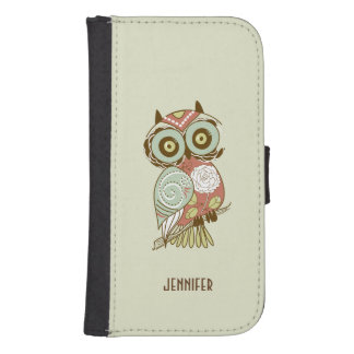 Colorful Pastel Tones Retro Floral Owl Wallet Phone Case For Samsung Galaxy S4