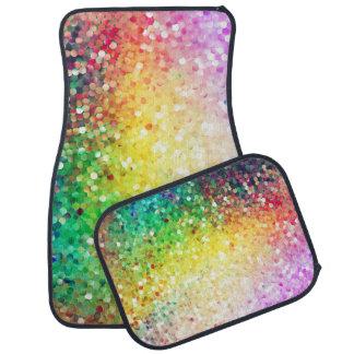 Colorful Pastel Tones Retro Glitter 2 Car Floor Mat