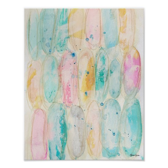 Colorful Pastel Watercolor Abstract Art Farmhouse Poster