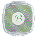 Colorful Pastel Zigzag Pattern Monogram Mirrors For Makeup