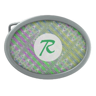 Colorful Pastel Zigzag Pattern Monogram Oval Belt Buckle