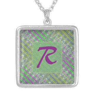 Colorful Pastel Zigzag Pattern Monogram Square Pendant Necklace
