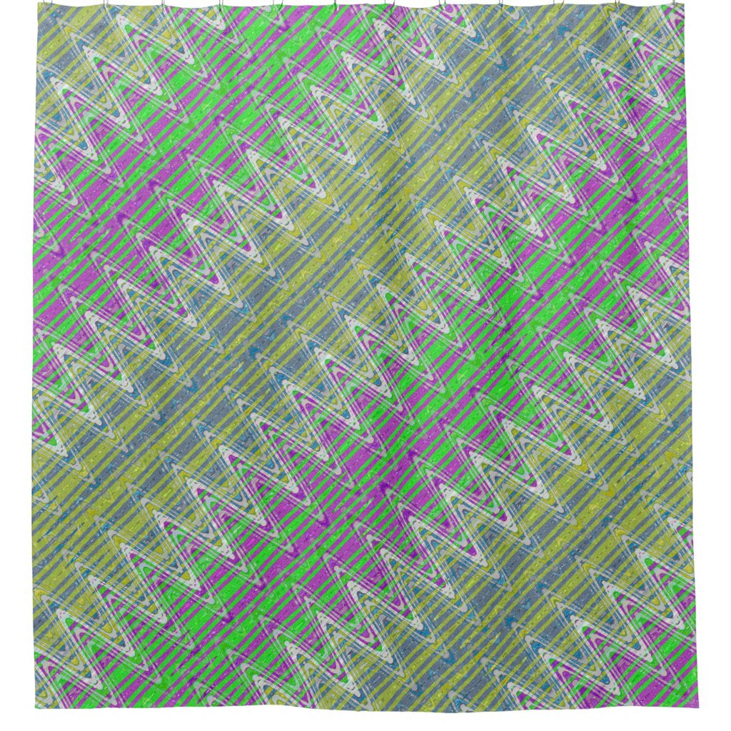 Colorful Pastel Zigzag Pattern Shower Curtain