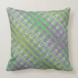 Colorful Pastel Zigzag Pattern Throw Pillow