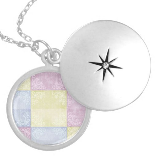 Colorful Pastels Patchwork Round Locket Necklace